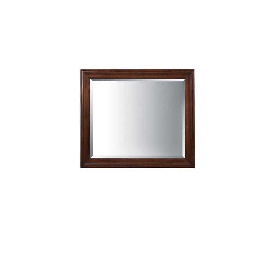 allen + roth Rosemere 42-in W x 36-in H Auburn Rectangular Bathroom Mirror