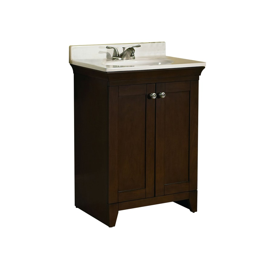 allen + roth Sycamore Nutmeg Integral Single Sink Poplar Bathroom Vanity with Cultured Marble Top (Actual: 24.75-in x 18.75-in)