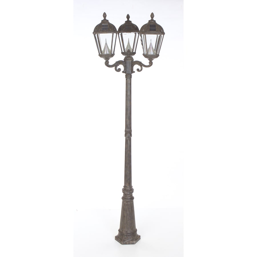 Shop Gama Sonic Royal 89 In H Weathered Bronze Solar Led Complete Post Light At