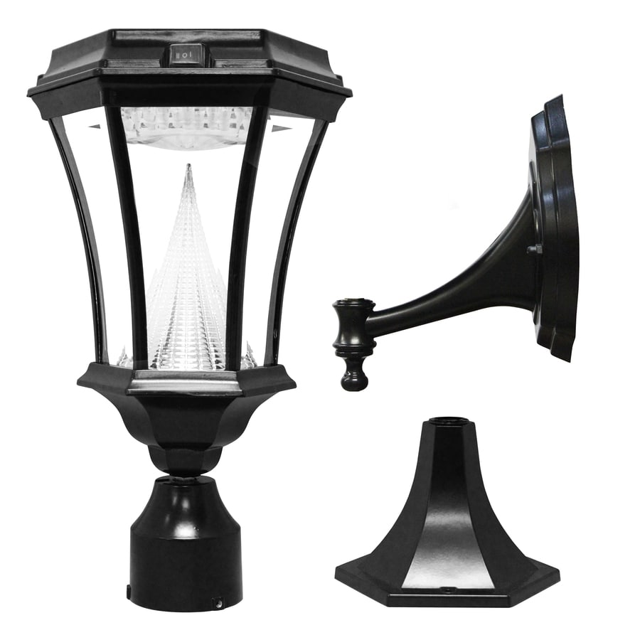 gama sonic victorian 15 in h black solar led post light at. Black Bedroom Furniture Sets. Home Design Ideas