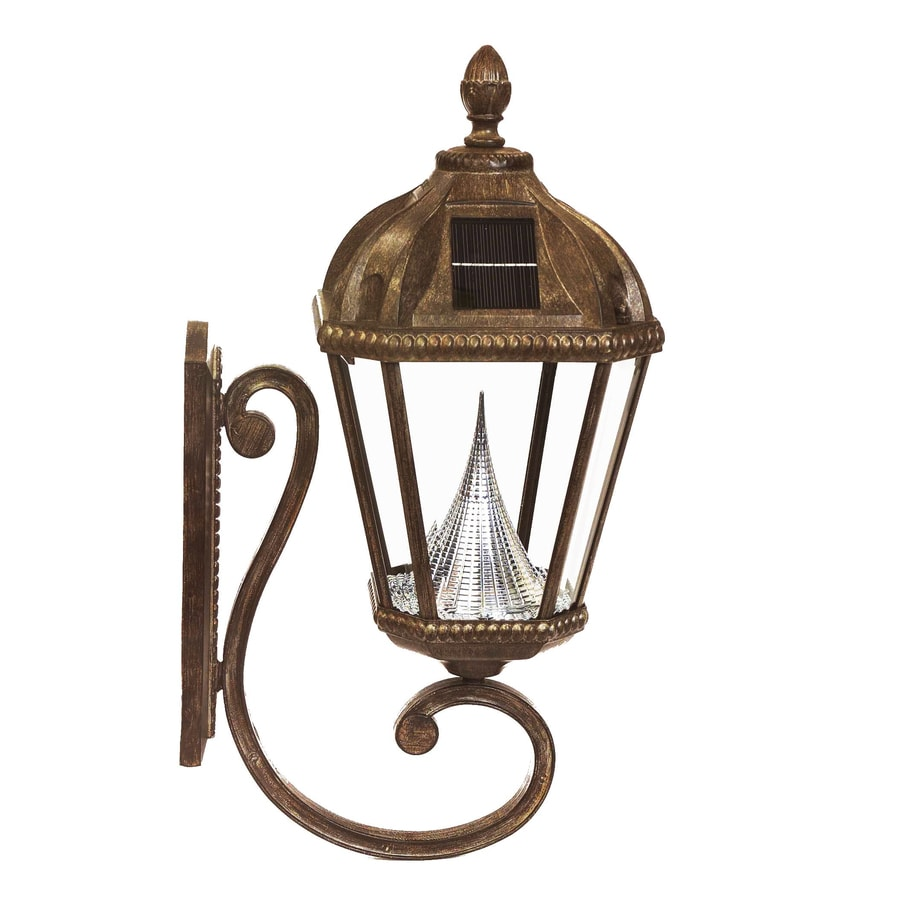 Shop Gama Sonic Royal 21-in H LED Weathered Bronze Solar Outdoor Wall Light at Lowes.com