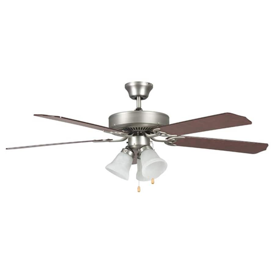 eLIGHT Envirocool 52-in Brushed Nickel Downrod Mount Indoor Ceiling Fan with Light Kit