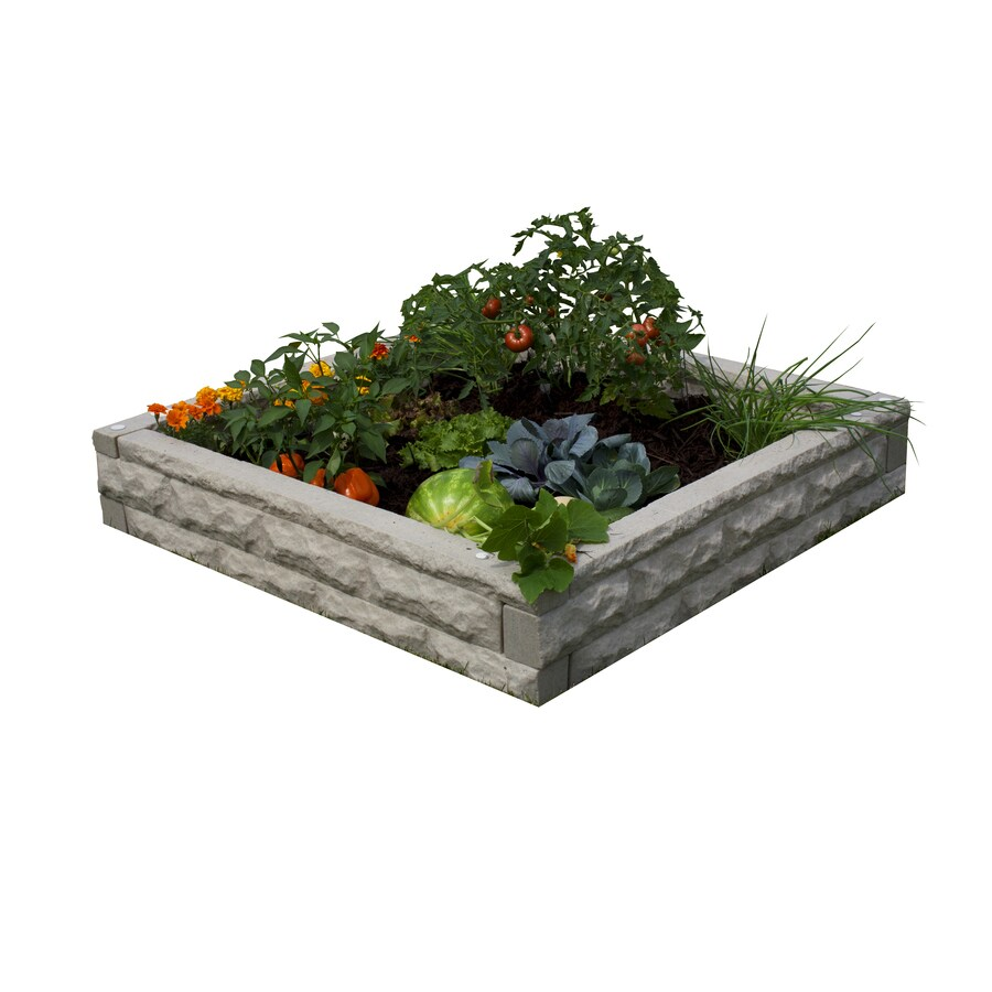 Garden Wizard 50-in W x 50-in L x 10.5-in H Sandstone Plastic Raised Garden Bed