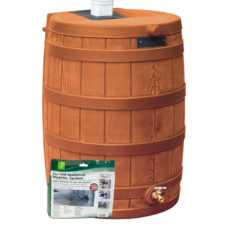 Rain Wizard 50-Gallon Terra Cotta Plastic Rain Barrel with Diverter and Spigot