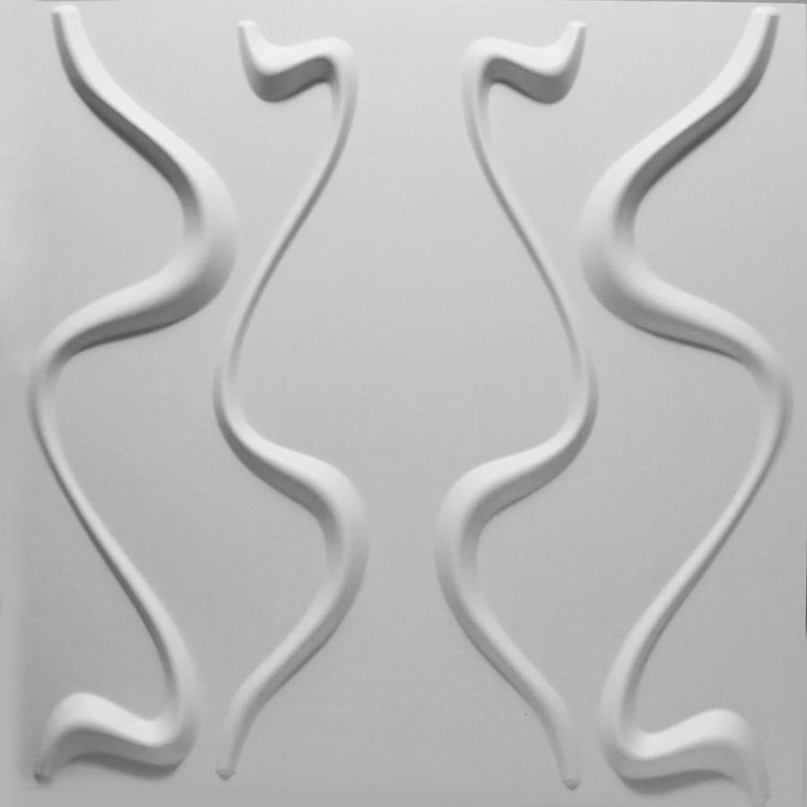 threeDwall Threedwall 1.63-in x 1.63-ft Embossed Off-White Bamboo Hardboard Wainscoting Wall Panel