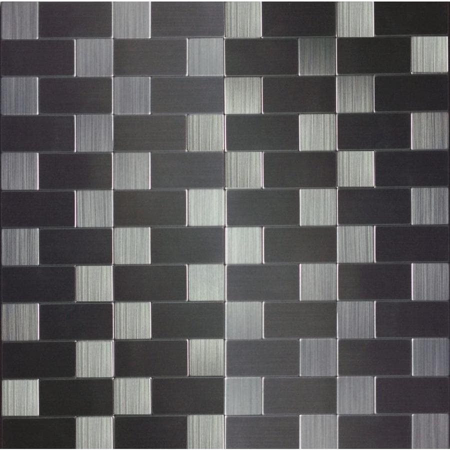 Instant Mosaic Brushed Stainless Subway Mosaic Metal Peel-and-Stick Wall Tile (Common: 12-in x 12-in; Actual: 12-in x 12-in)