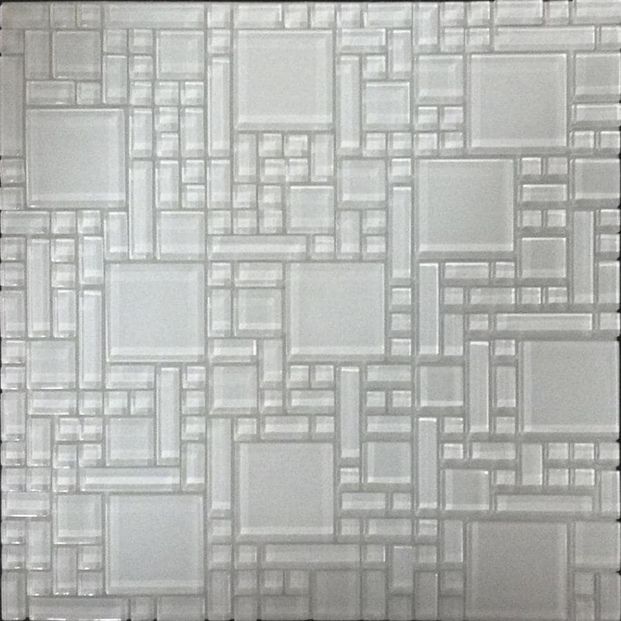 Instant Mosaic White Versailles Mosaic Glass Wall Tile (Common: 12-in x 12-in; Actual: 12-in x 12-in)