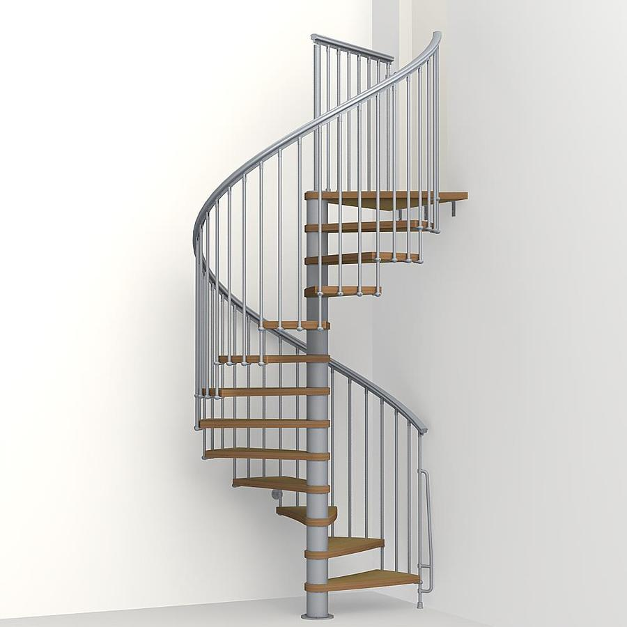 Shop arke nice1 63 in x 10 ft gray spiral staircase kit at for Aluminum spiral staircase prices