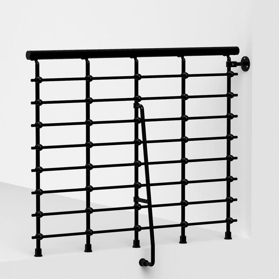 Shop Arke Oak Xtra 3 9 Ft Black Painted Powder Coated Steel Stair Railing Kit At