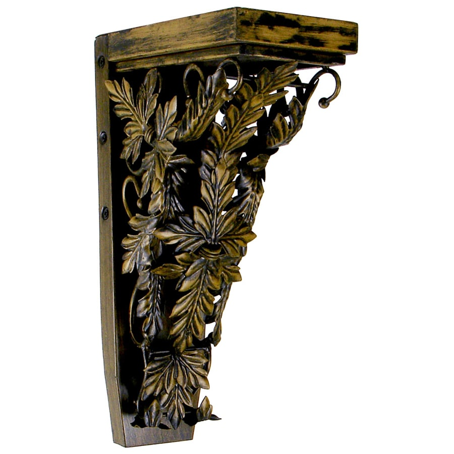 Chateau 4.25-in x 13-in Rubbed Black/Gold Handmade Detail Iron Corbel
