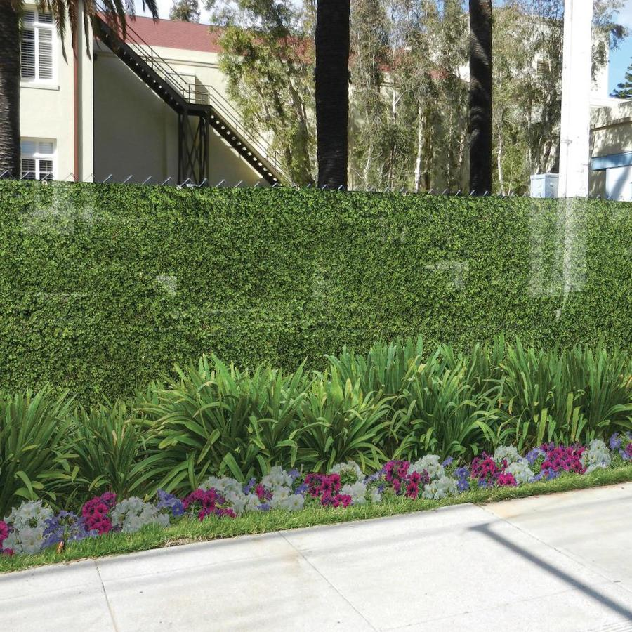 FenceScreen Hedge with Flower Hedge with Flower Graphic Chain-Link Fence Privacy Screen (Fits Common Fence Height: 4-Ft; Actual: 25-ft x 3.667 Feet)