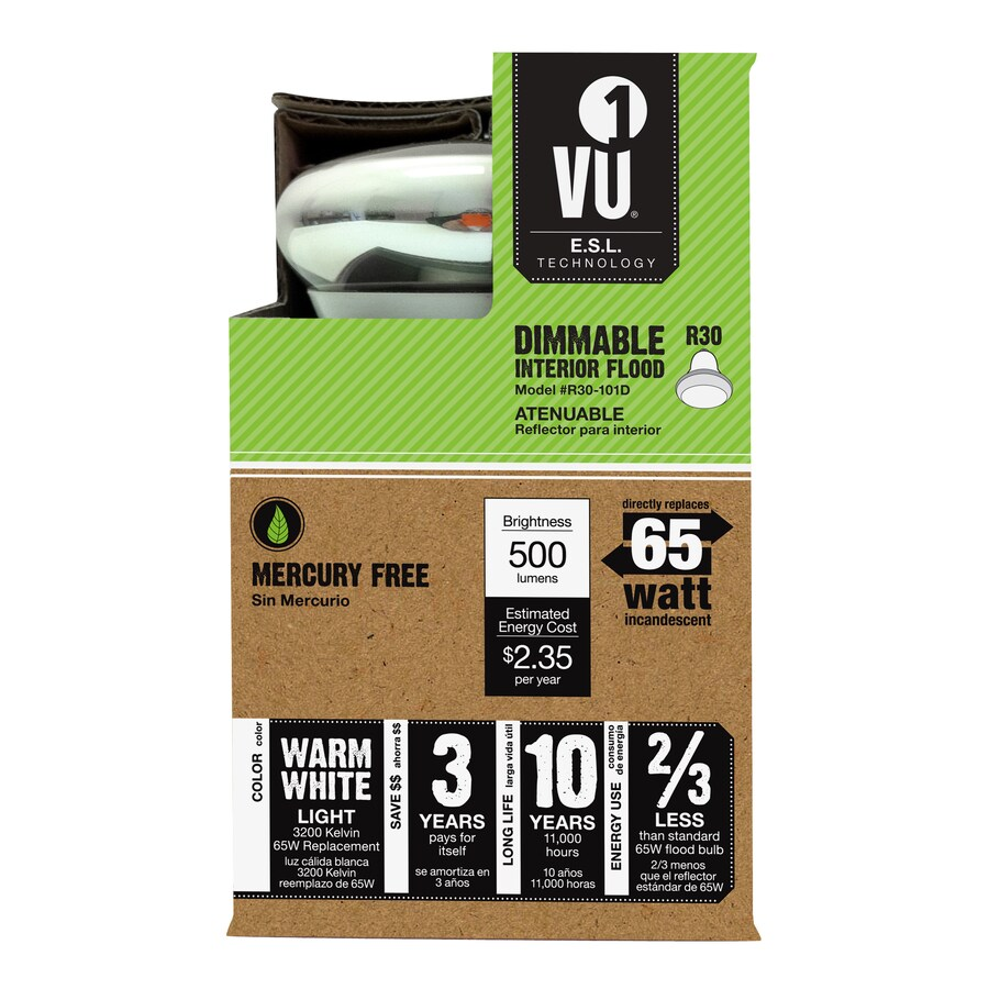 Vu1 19.5-Watt BR30 Base Warm White Dimmable for Indoor Halogen Light Bulb
