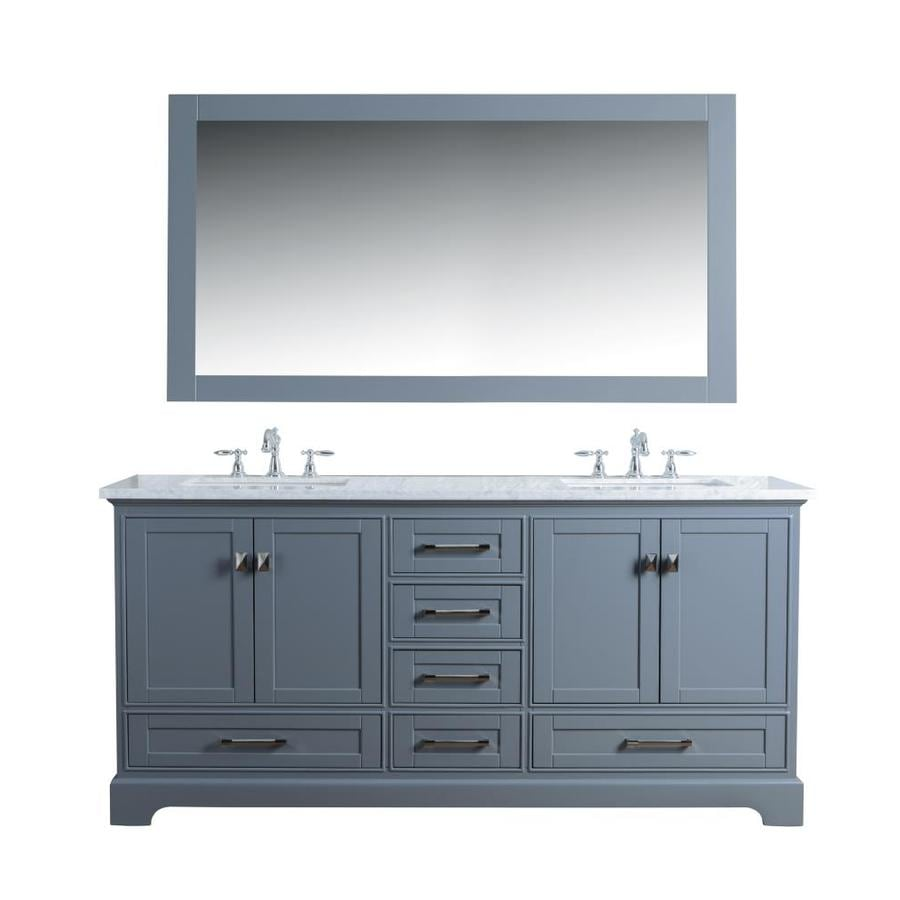 Stufurhome 72 In Gray Undermount Double Sink Bathroom Vanity With Carrara White Natural Marble Top Mirror Included In The Bathroom Vanities With Tops Department At Lowes Com