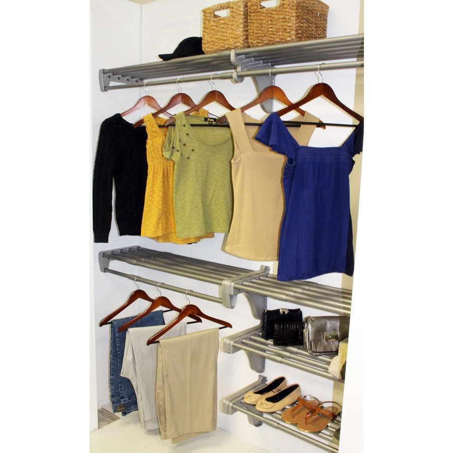 EZ Shelf 3.33-ft to 10.2-ft Silver Adjustable Mount Wire Shelving Kits