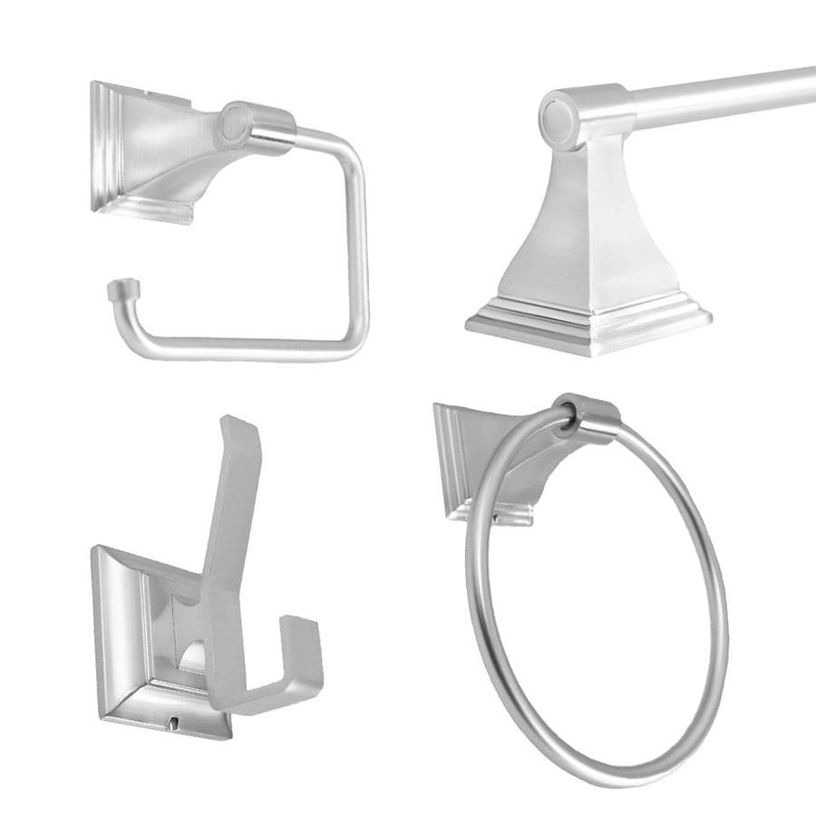 Shop arista 4 piece leonard satin nickel decorative for Bathroom hardware sets