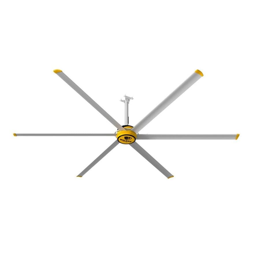 Big Ass Fans 144-in Silver and Yellow Downrod Mount Indoor Commercial Ceiling Fan (6-Blade)