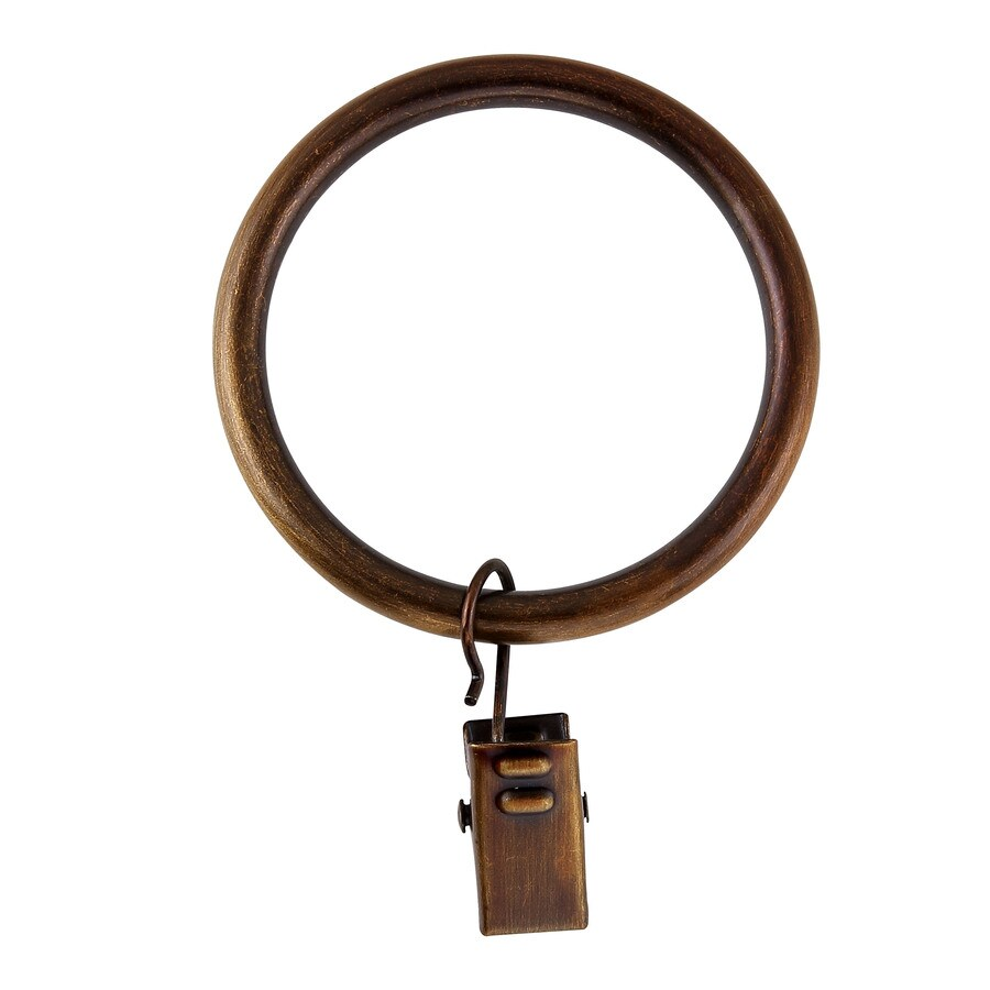 allen + roth 10-Pack 3.25-in Weathered Brass Steel Curtain Rings