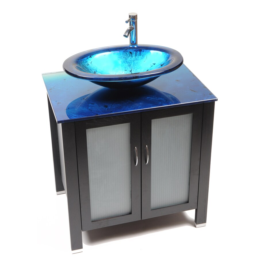 Bionic Waterhouse 31-in x 22-in Dark Venge Single Sink Bathroom Vanity with Tempered Glass Top (Faucet Included)