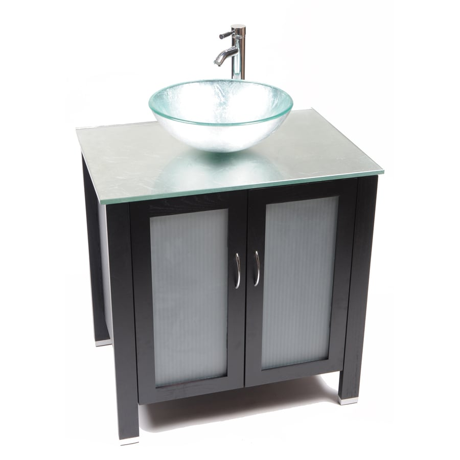 Shop Bionic Waterhouse 31 In X 22 In Dark Venge Single Sink Bathroom Vanity With Tempered Glass