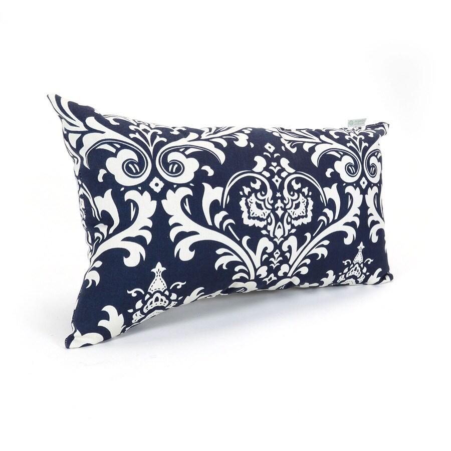 Majestic Home Goods French Quarter Navy Floral Rectangular Outdoor Decorative Pillow