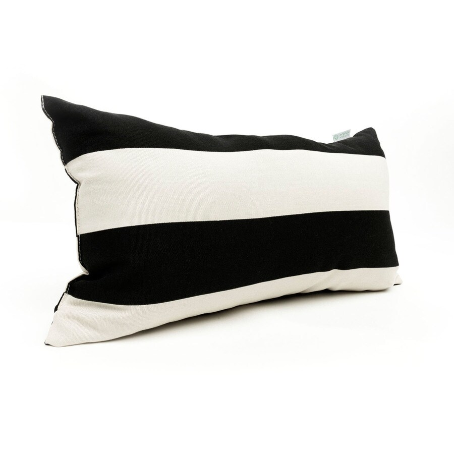 Majestic Home Goods Black Horizontal Stripe Rectangular Outdoor Decorative Pillow