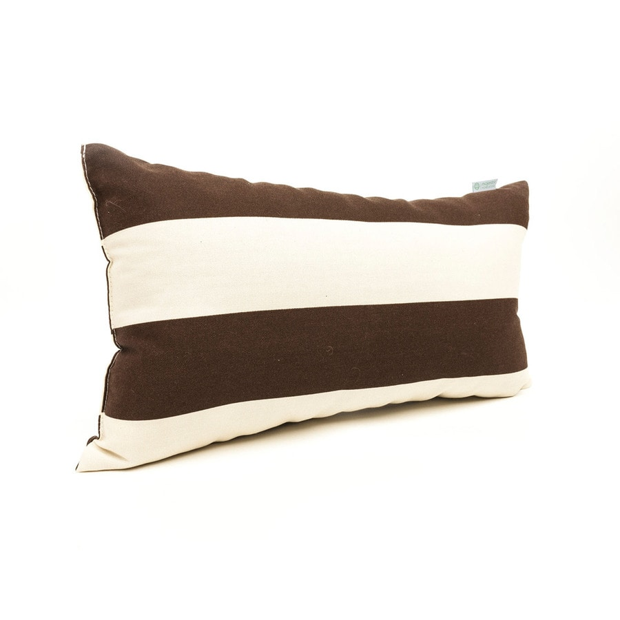 Majestic Home Goods Chocolate Horizontal Stripe Rectangular Outdoor Decorative Pillow