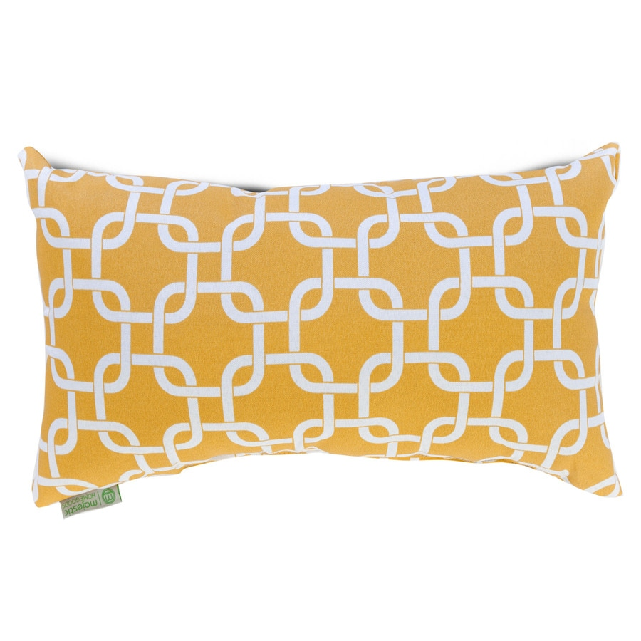 Decorative Pillows Rectangular : Shop Majestic Home Goods Yellow Links Geometric Rectangular Outdoor Decorative Pillow at Lowes.com