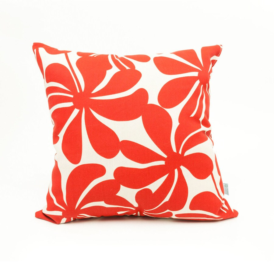 Majestic Home Goods Red Plantation Floral Square Outdoor Decorative Pillow