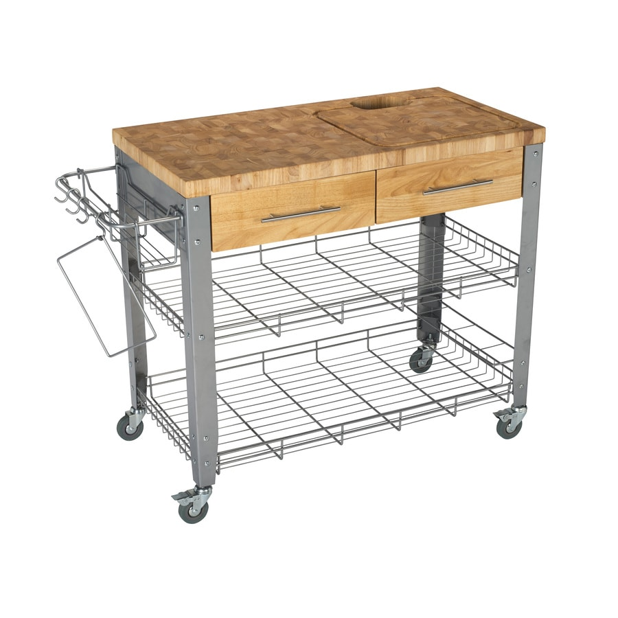 Chris & Chris 40-in L x 20-in W x 35-in H Natural Kitchen Island Casters