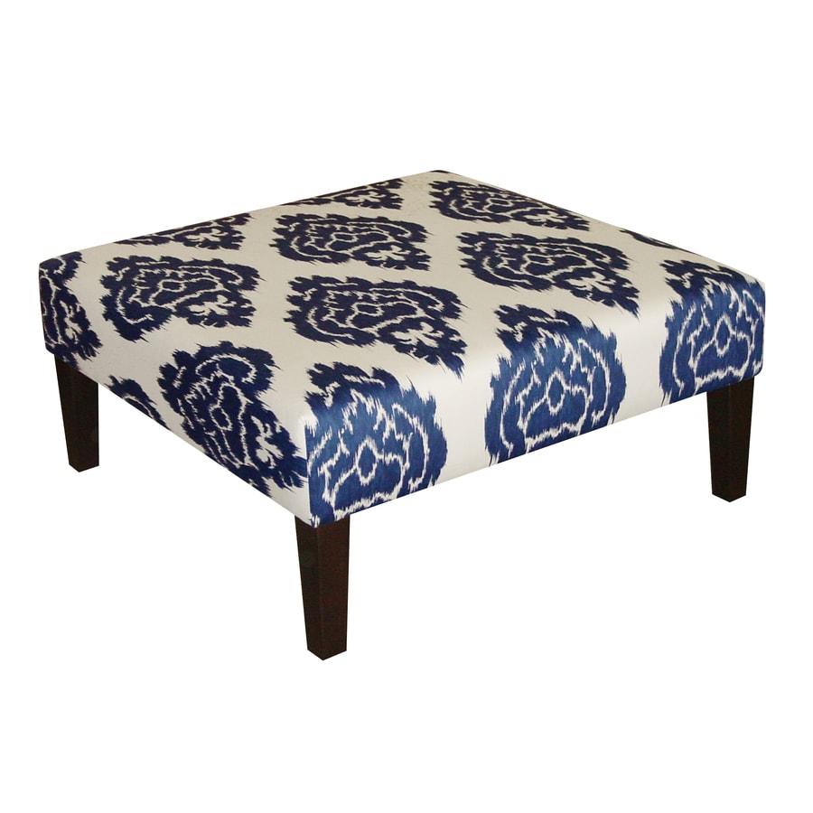 Skyline Furniture Fullerton Collection Blue Square Ottoman