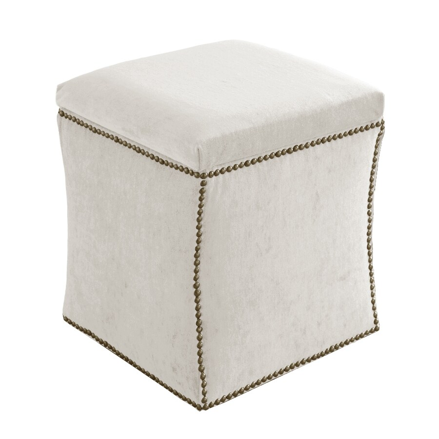 Skyline Furniture Armitage Collection White Square Storage Ottoman