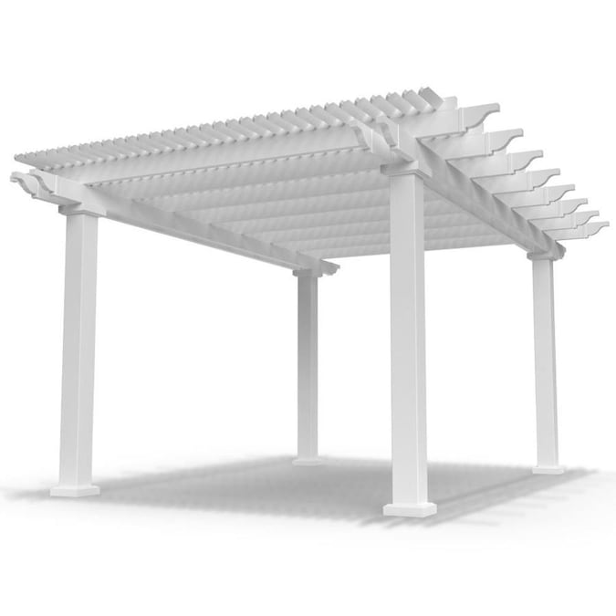 Modern Pergola Kit 16 Ft W X 12 Ft L X 10 Ft White Vinyl Freestanding Pergola In The Pergolas Department At Lowes Com