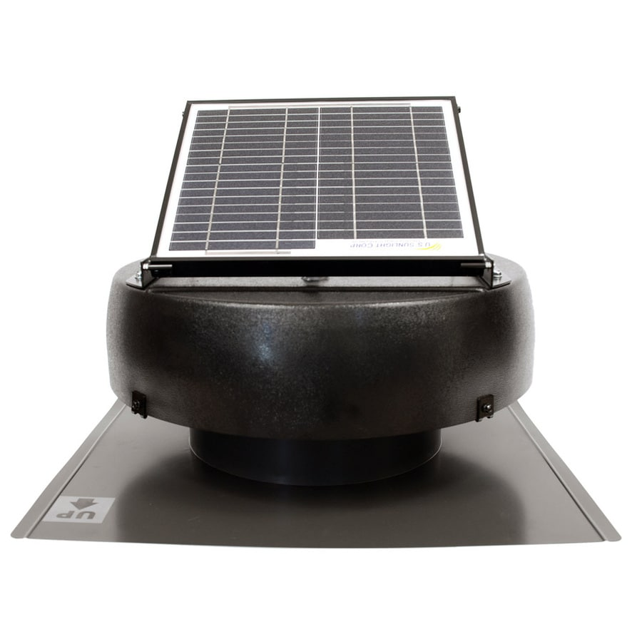 U.S. Sunlight 900-CFM Black Galvanized Steel Solar Power Roof Vent