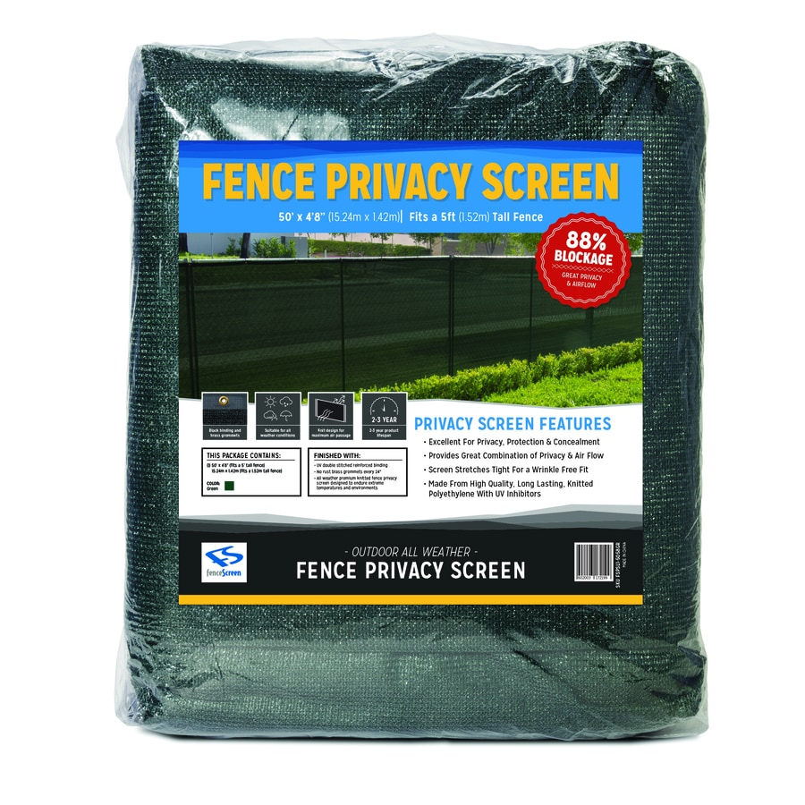 FenceScreen Green Privacy Fence Screen Forest Green Chain-Link Fence Privacy Screen (Fits Common Fence Height: 5-Ft; Actual: 50-ft x 4.667 Feet)