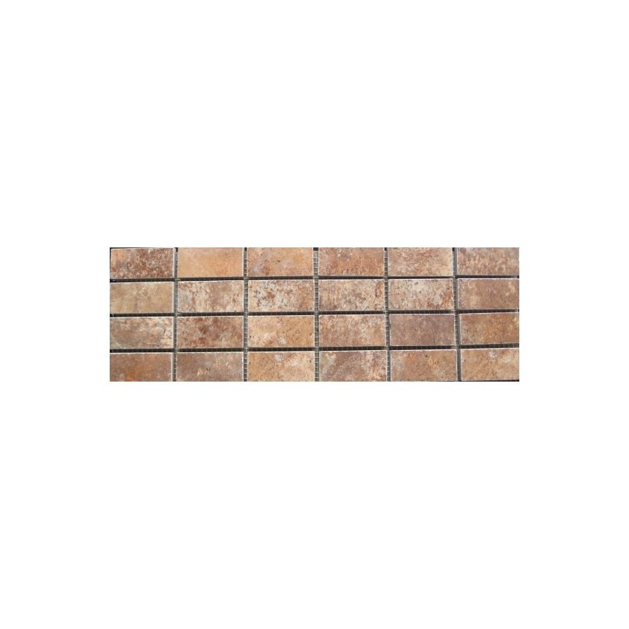 FLOORS 2000 Altamira Lava Glazed Porcelain Mosaic Square Indoor/Outdoor Listello Tile (Common: 4-in x 12-in; Actual: 4-in x 13-in)