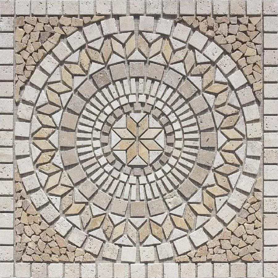 Style Selections Medallions Multi Colored Mosaic Travertine Floor Tile (Common: 36-in x 36-in; Actual: 35.75-in x 35.75-in)