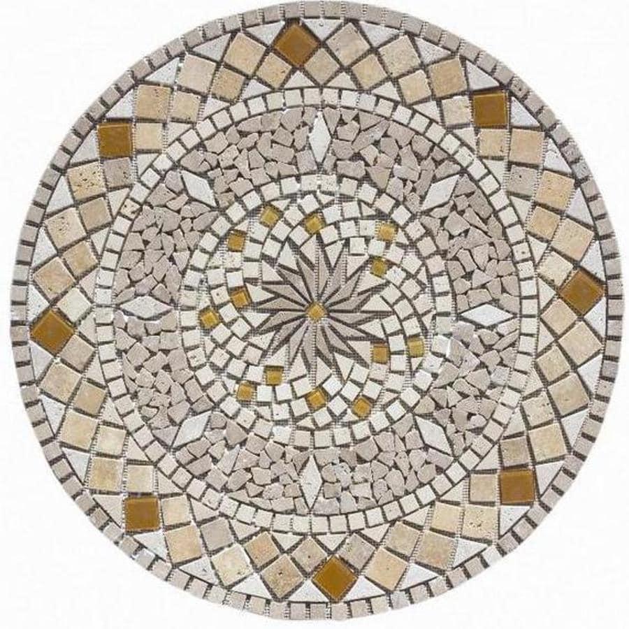 Mosaic floor tile medallions