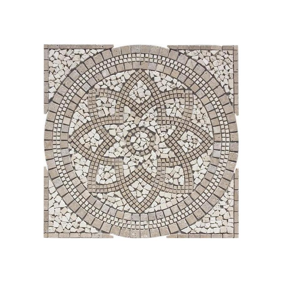 FLOORS 2000 Medallions Multi Colored Mosaic Travertine Floor Tile (Common: 36-in x 36-in; Actual: 35.75-in x 35.75-in)