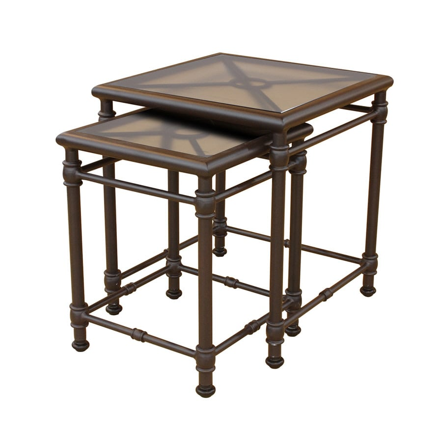 shop allen roth key largo 18 in x 18 in black cast aluminum square patio side table at. Black Bedroom Furniture Sets. Home Design Ideas
