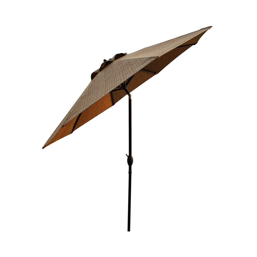 allen + roth Safford 9-ft x 9-ft Round Brown Market Umbrella with Crank