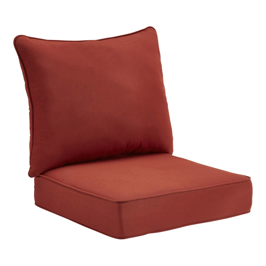 allen + roth Sunbrella Canvas Chili Red Texture Cushion For Deep Seat Chair