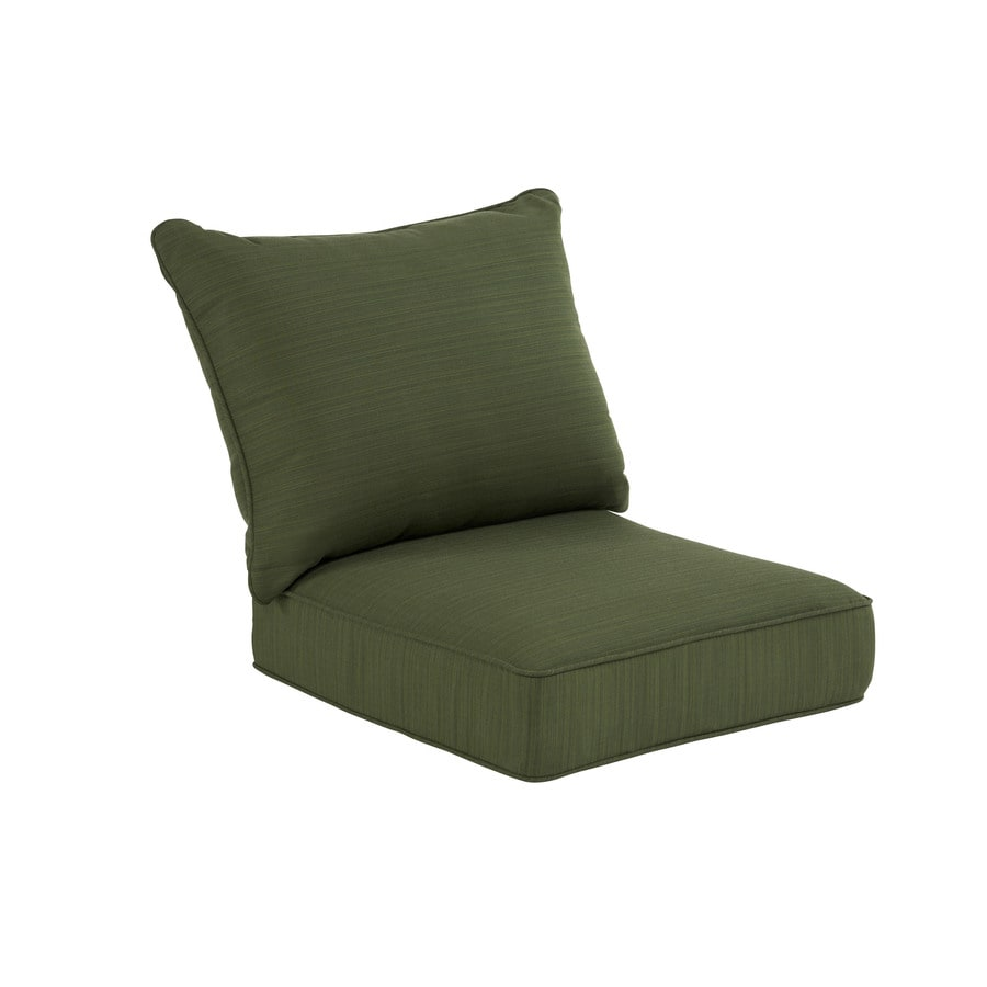 allen + roth Sunbrella Dupione Palm Green Stripe Cushion For Deep Seat Chair