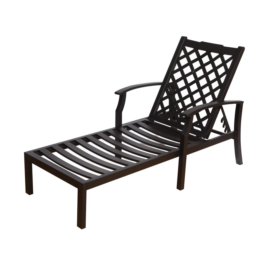 Shop allen roth carrinbridge black aluminum patio chaise for Black outdoor chaise lounge