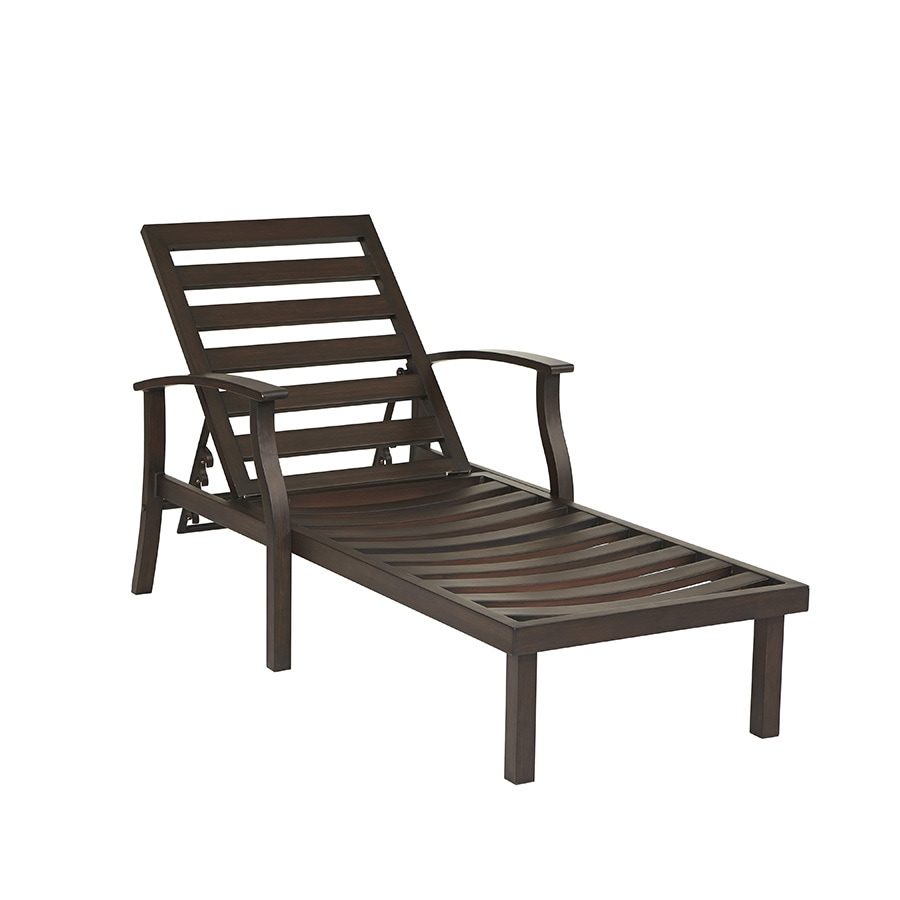 Shop allen roth gatewood brown aluminum patio chaise for Allen roth tenbrook extruded aluminum patio chaise lounge