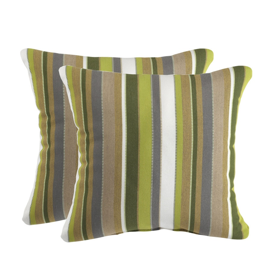 Decorative Pillows 2 Pack : Shop Sunbrella 2-Pack Carousel Lime Stripe Square Throw Outdoor Decorative Pillow at Lowes.com