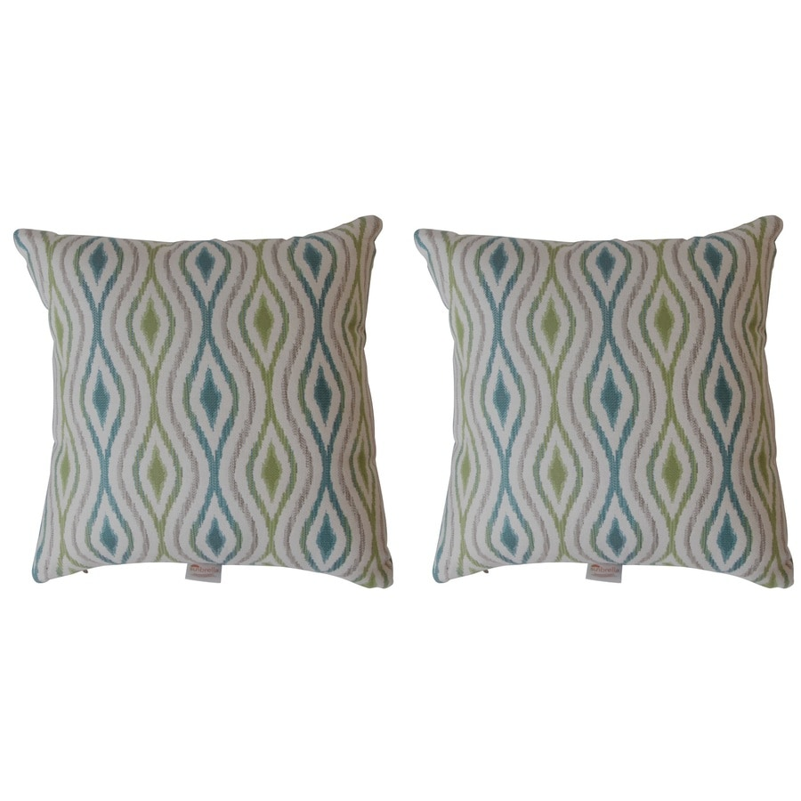 Throw Pillow Peacock : Shop Sunbrella 2-Pack Marisol Peacock Geometric Square Throw Outdoor Decorative Pillow at Lowes.com