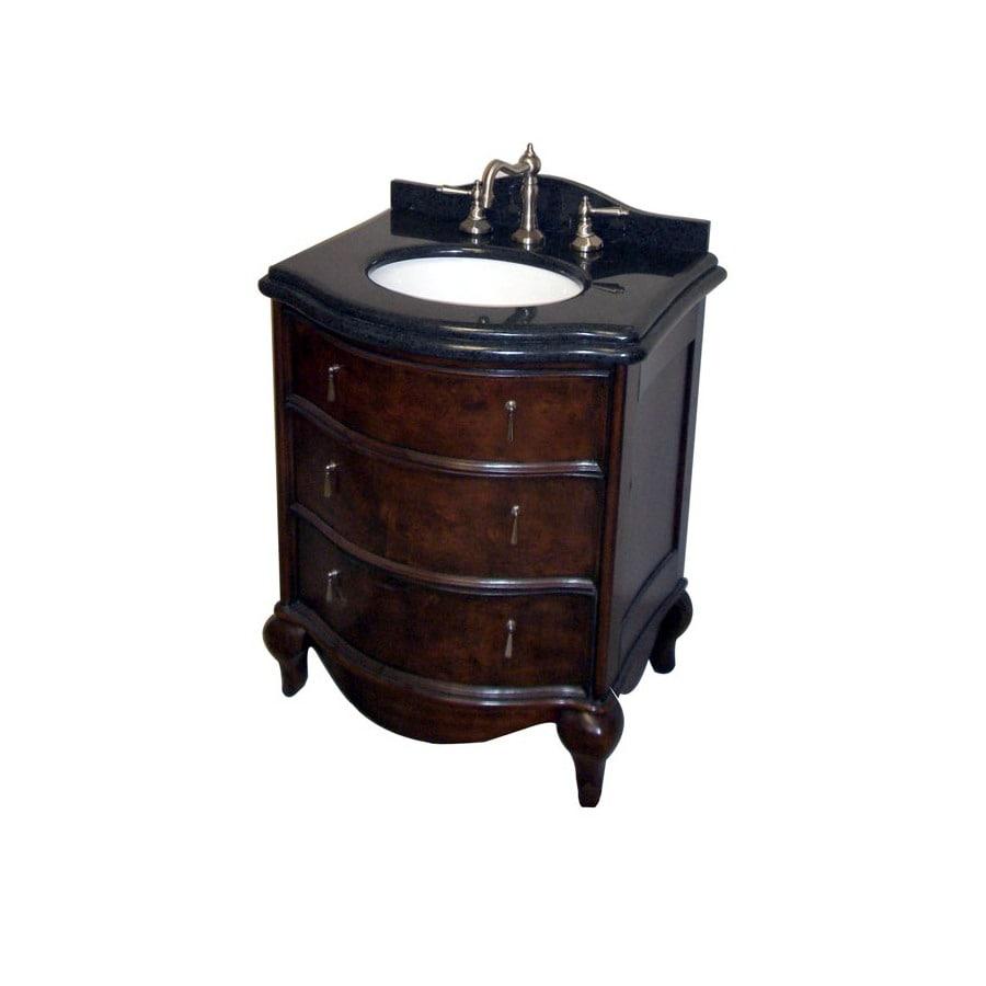 allen + roth Ellerton Java Undermount Single Sink Asian Hardwood Bathroom Vanity with Granite Top (Common: 27-in x 21-in; Actual: 27-in x 21.5-in)