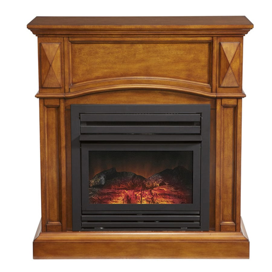 Pleasant Hearth 35.75-in Dual-Burner Vent-Free Heritage Oak Corner Liquid Propane or Natural Gas Fireplace with Thermostat and Blower