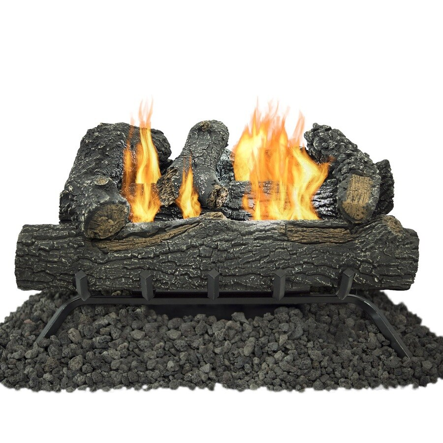 Shop Pleasant Hearth 24 In 30000 Btu Dual Vent Free Gas Fireplace Logs With Thermostat At