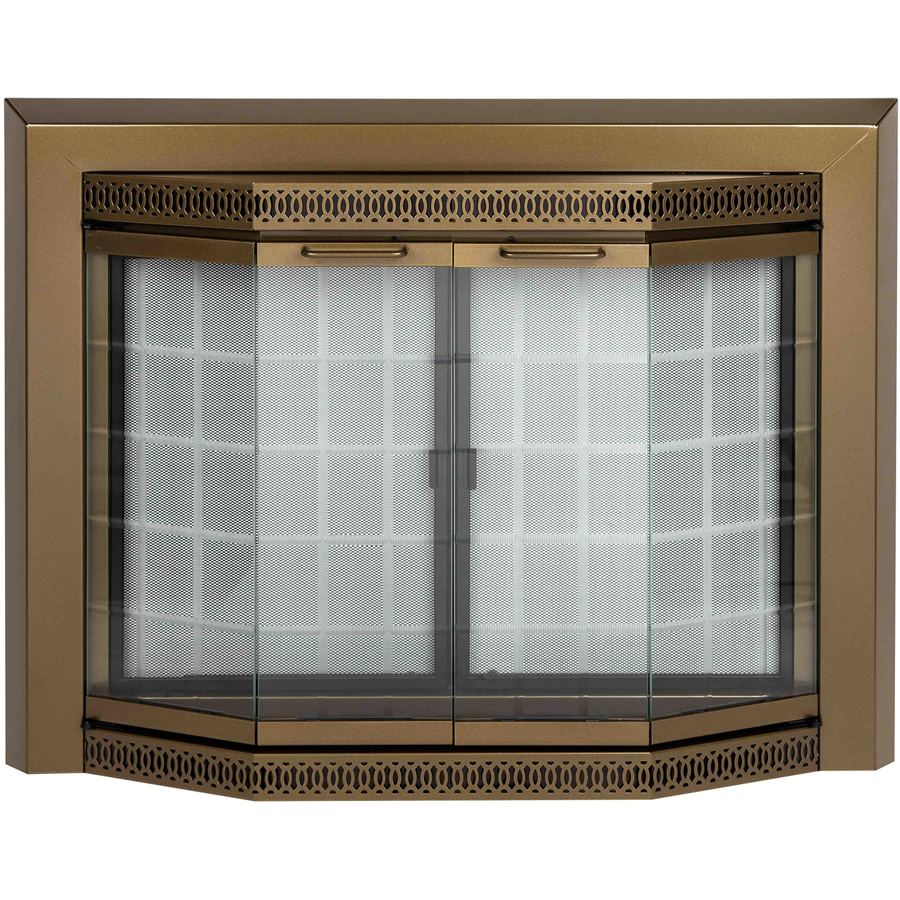 Pleasant Hearth Grandior Bay Antique Brass Medium Bi-Fold Bay Fireplace Doors with Clear Tempered Glass